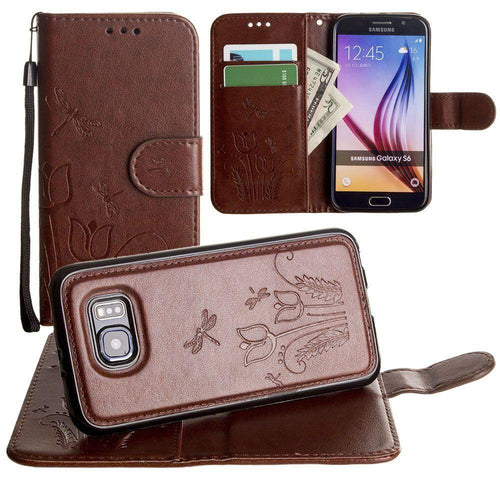 Samsung Galaxy S6 - Embossed dragonfly over tulip design wallet case with Matching detachable magnetic case and wristlet, Brown for Galaxy S6
