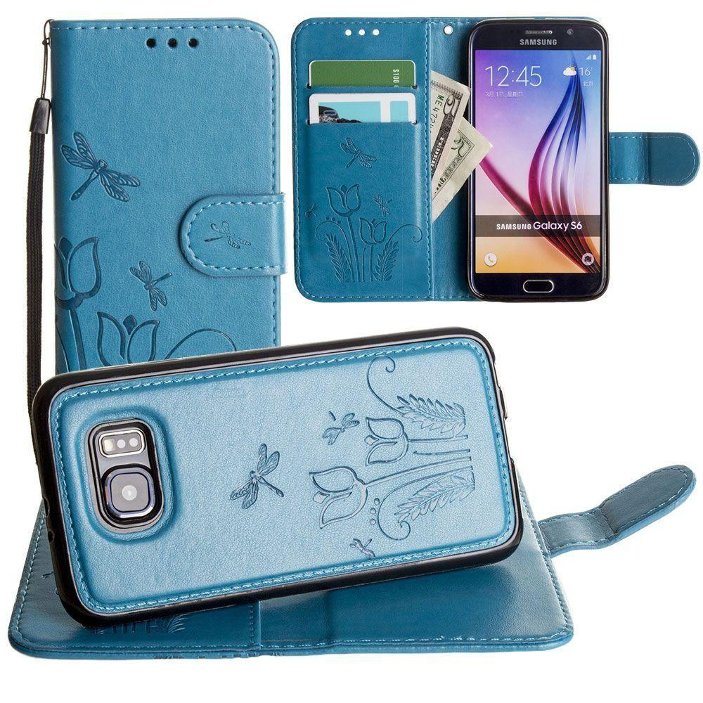 - Embossed dragonfly over tulip design wallet case with Matching detachable magnetic case and wristlet, Teal for Galaxy S6