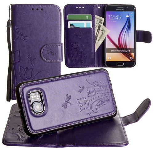 Samsung Galaxy S6 - Embossed dragonfly over tulip design wallet case with Matching detachable magnetic case and wristlet, Purple for Galaxy S6