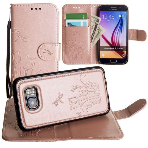 Samsung Galaxy S6 - Embossed dragonfly over tulip design wallet case with Matching detachable magnetic case and wristlet, Rose Gold for Galaxy S6
