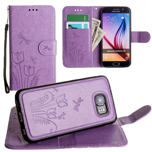 Samsung Galaxy S6 - Embossed dragonfly over tulip design wallet case with Matching detachable magnetic case and wristlet, Lavender for Galaxy S6
