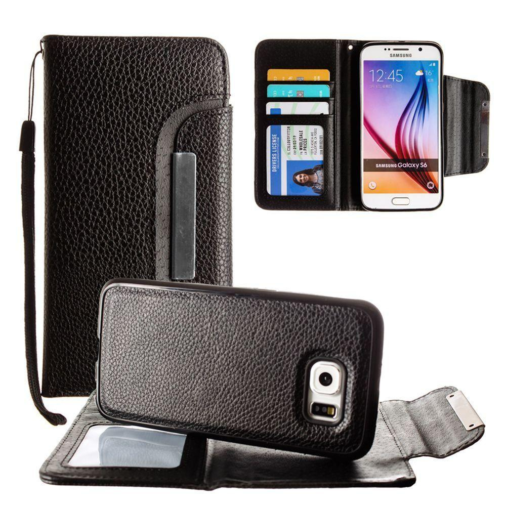 - Compact Wallet Case with Detachable Slim Case, Card Slots and wristlet, Black for Galaxy S6
