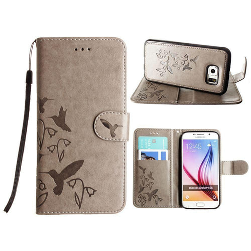 Samsung Galaxy S6 - Embossed Humming Bird Design Wallet Case with Matching Removable Case and Wristlet, Gray for Galaxy S6
