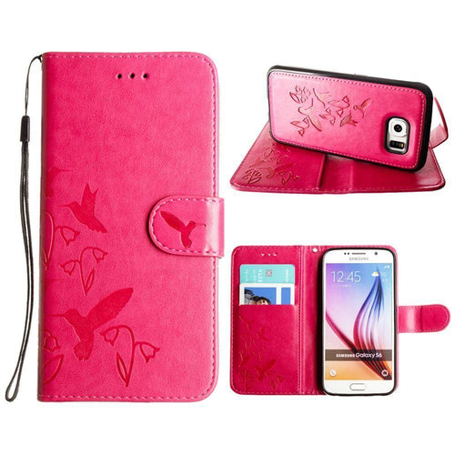Samsung Galaxy S6 - Embossed Humming Bird Design Wallet Case with Matching Removable Case and Wristlet, Hot Pink for Galaxy S6
