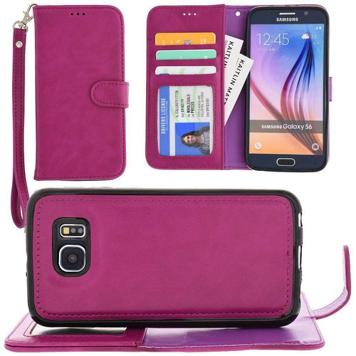 Samsung Galaxy S6 - Leather Wallet with Detachable Slim Case and Matching Wristlet, Fuchsia for Galaxy S6