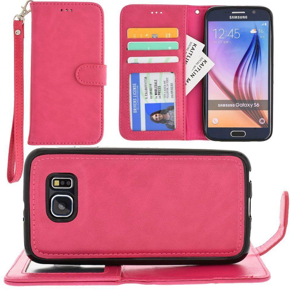 - Leather Wallet with Detachable Slim Case and Matching Wristlet, Hot Pink for Galaxy S6