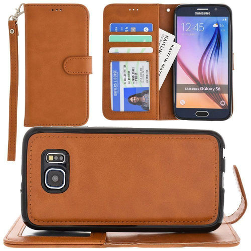 Samsung Galaxy S6 - Leather Wallet with Detachable Slim Case and Matching Wristlet, Brown