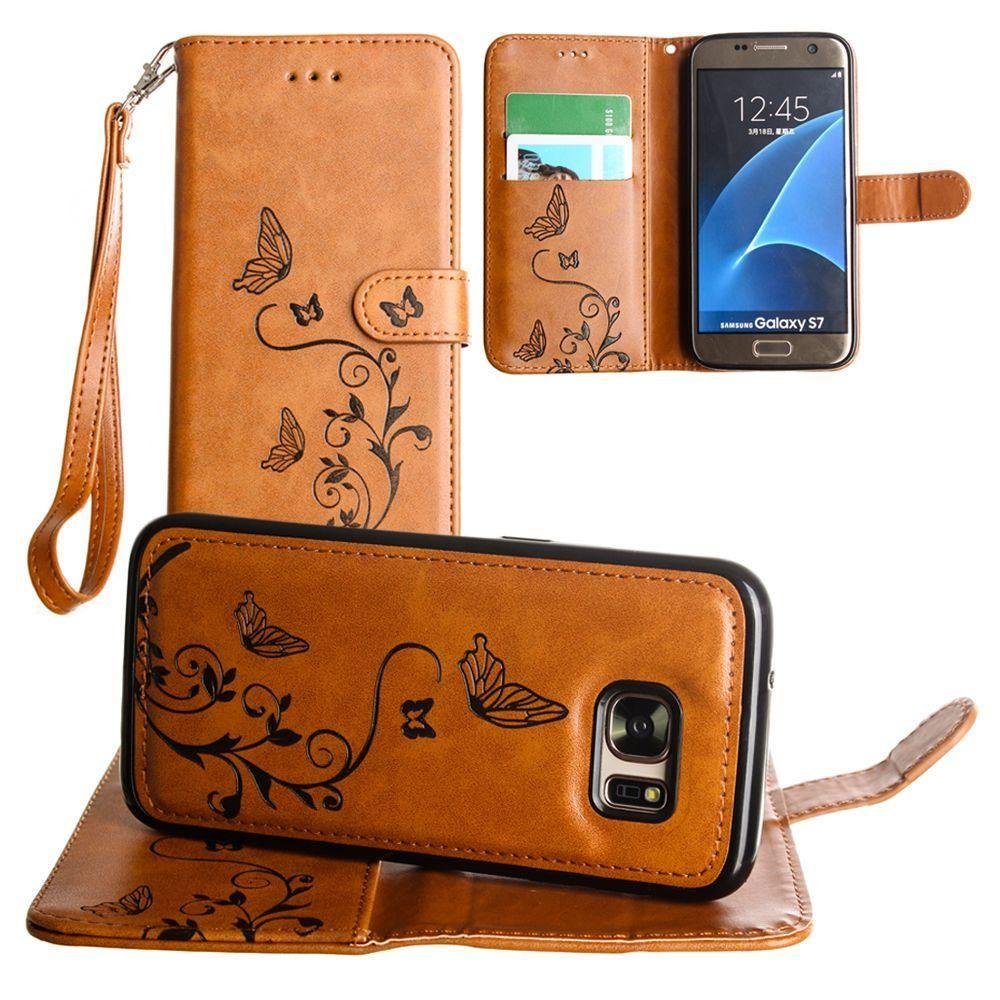 - Embossed Butterfly Design Wallet Case with Detachable Matching Case and Wristlet, Brown for Samsung Galaxy S7