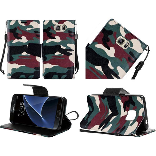 Samsung Galaxy S7 - Camouflage Design Folding Wallet Case, Green/Black for Samsung Galaxy S7