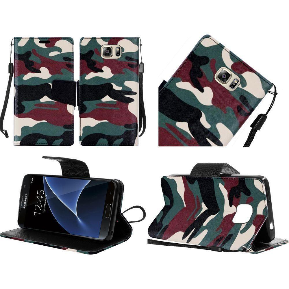 - Camouflage Design Folding Wallet Case, Green/Black for Samsung Galaxy S7