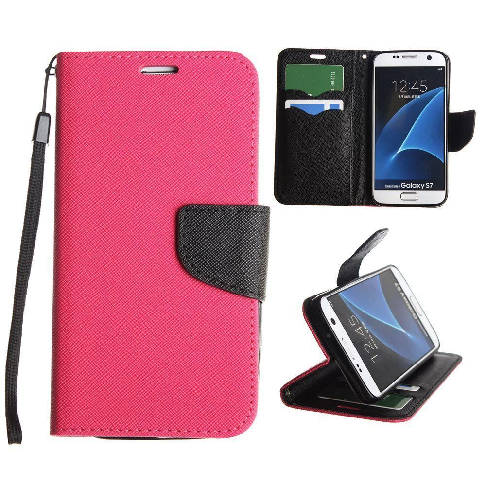 - Premium 2 Tone Leather Folding Wallet Case, Hot Pink/Black for Samsung Galaxy S7