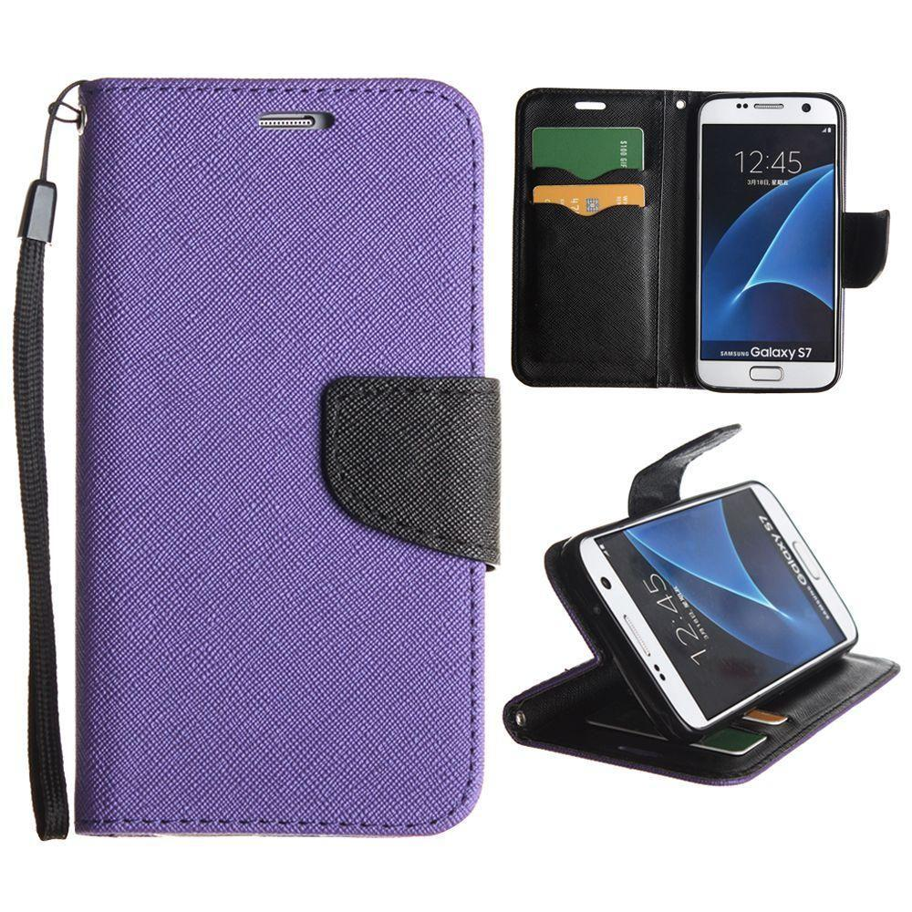 - Premium 2 Tone Leather Folding Wallet Case, Purple/Black for Samsung Galaxy S7