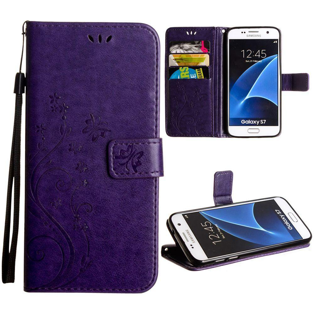 - Embossed Butterfly Design Leather Folding Wallet Case with Wristlet, Purple for Samsung Galaxy S7