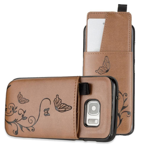Samsung Galaxy S7 - Embossed Butterfly Leather Case with Pull-Out Card Slot Organizer, Brown for Samsung Galaxy S7