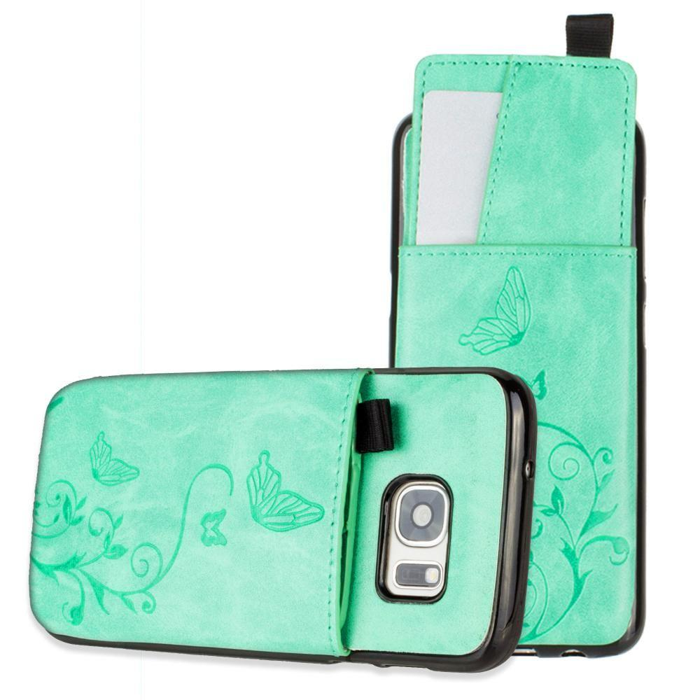 - Embossed Butterfly Leather Case with Pull-Out Card Slot Organizer, Mint for Samsung Galaxy S7
