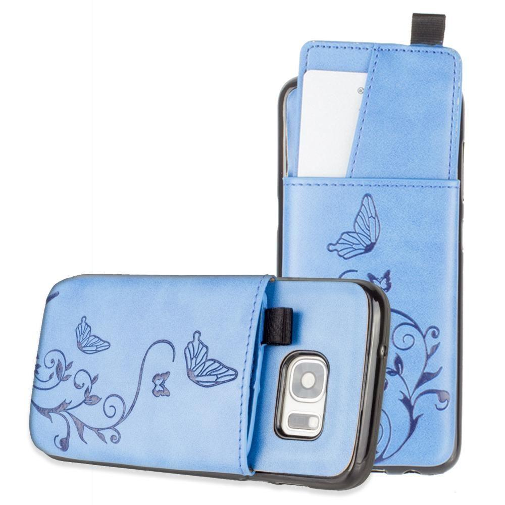 - Embossed Butterfly Leather Case with Pull-Out Card Slot Organizer, Blue for Samsung Galaxy S7