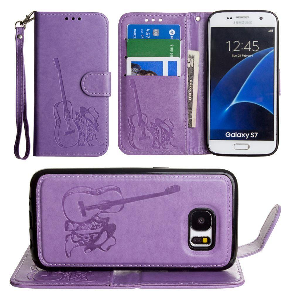 - Country Western Wallet with Matching Detachable Magnetic Phone Case and Wristlet, Lavender for Samsung Galaxy S7
