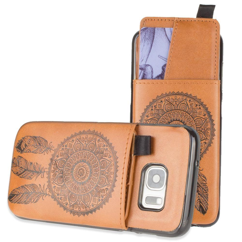 - Embossed Dreamcatcher Leather Case with Pull-Out Card Slot Organizer, Taupe for Samsung Galaxy S7