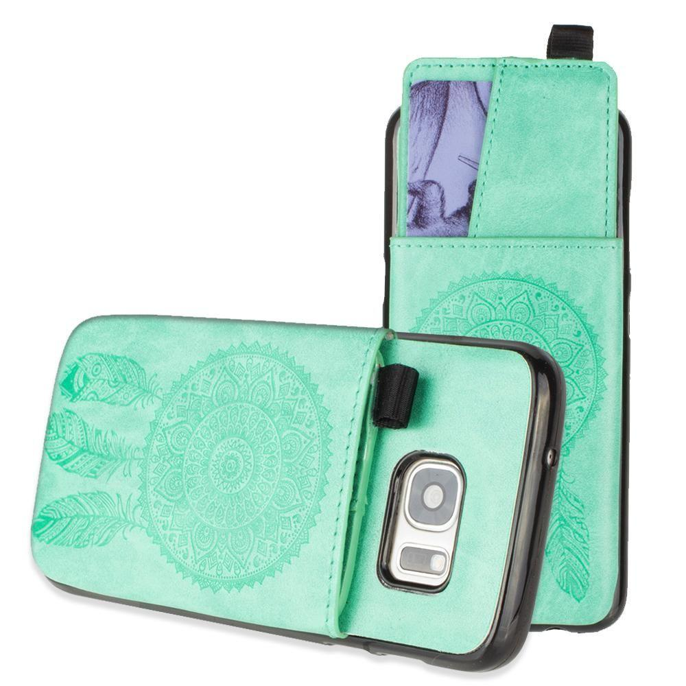 - Embossed Dreamcatcher Leather Case with Pull-Out Card Slot Organizer, Mint for Samsung Galaxy S7