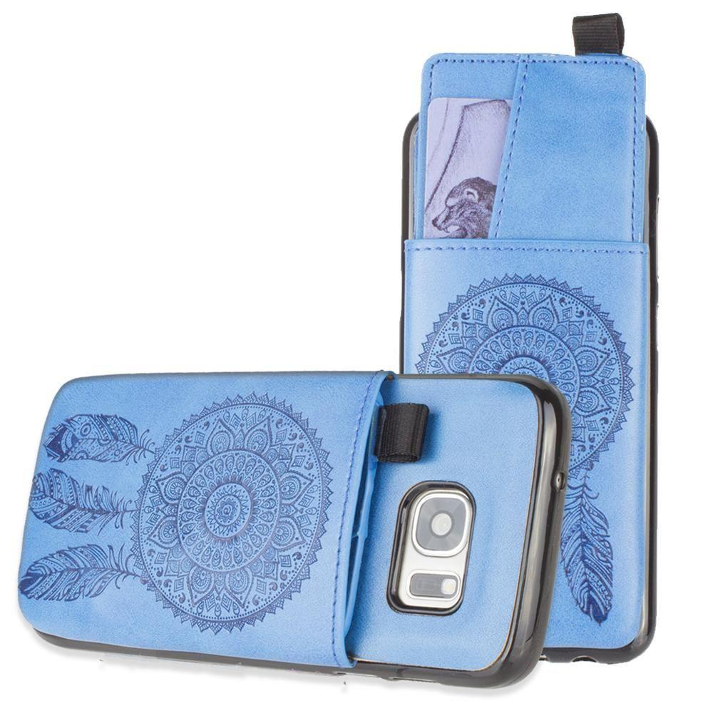 - Embossed Dreamcatcher Leather Case with Pull-Out Card Slot Organizer, Blue for Samsung Galaxy S7