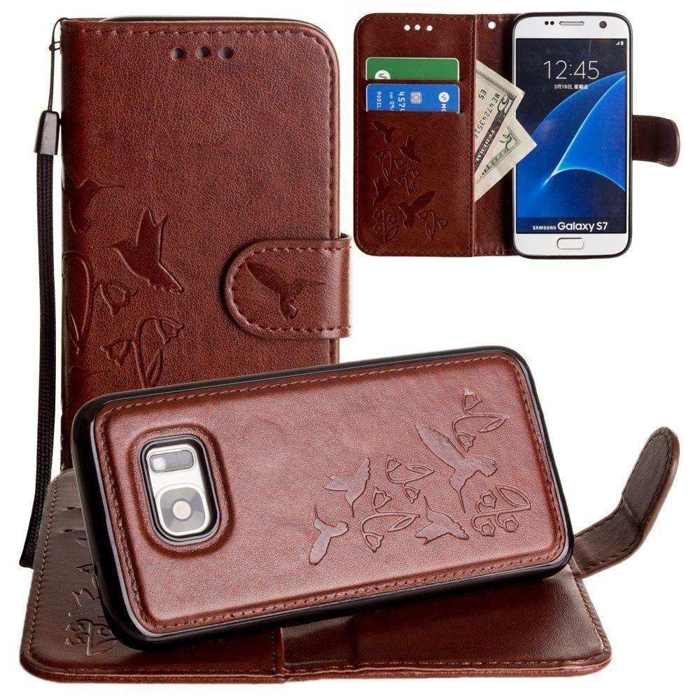 - Embossed Humming Bird Design Wallet Case with Matching Removable Case and Wristlet, Brown for Samsung Galaxy S7