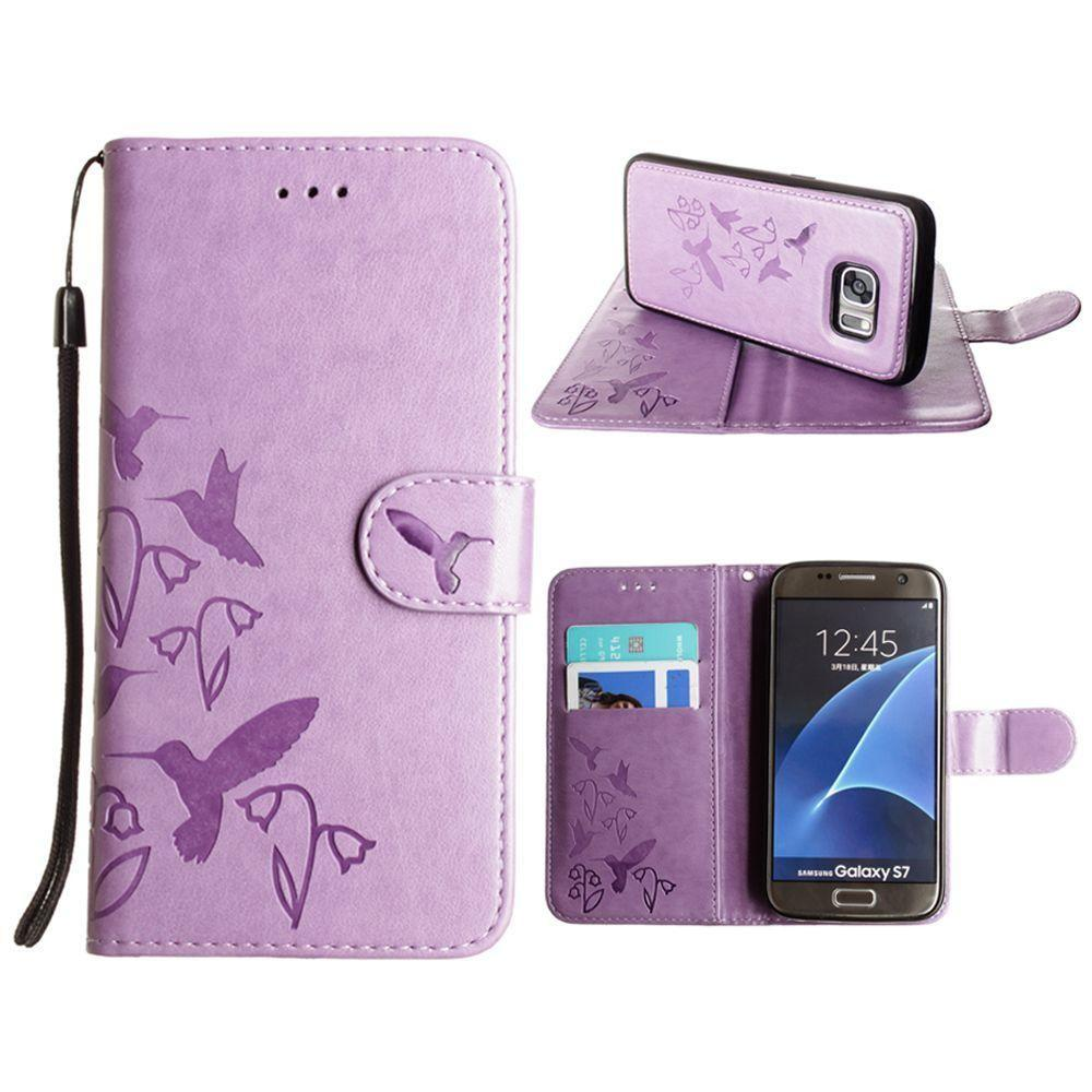 - Embossed Humming Bird Design Wallet Case with Matching Removable Case and Wristlet, Lavender for Samsung Galaxy S7