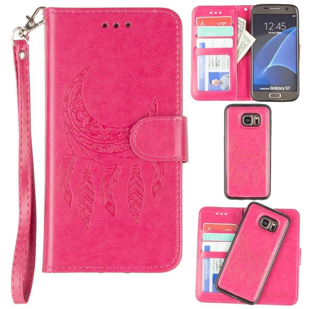 - Embossed Moon Dream Catcher Design Wallet Case with Detachable Matching Case and Wristlet, Hot Pink for Samsung Galaxy S7