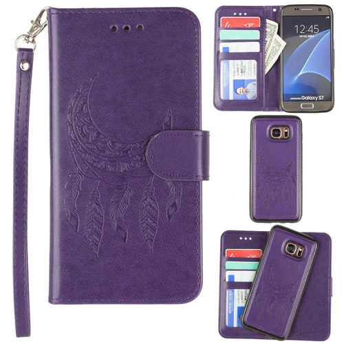 Samsung Galaxy S7 - Embossed Moon Dream Catcher Design Wallet Case with Detachable Matching Case and Wristlet, Purple
