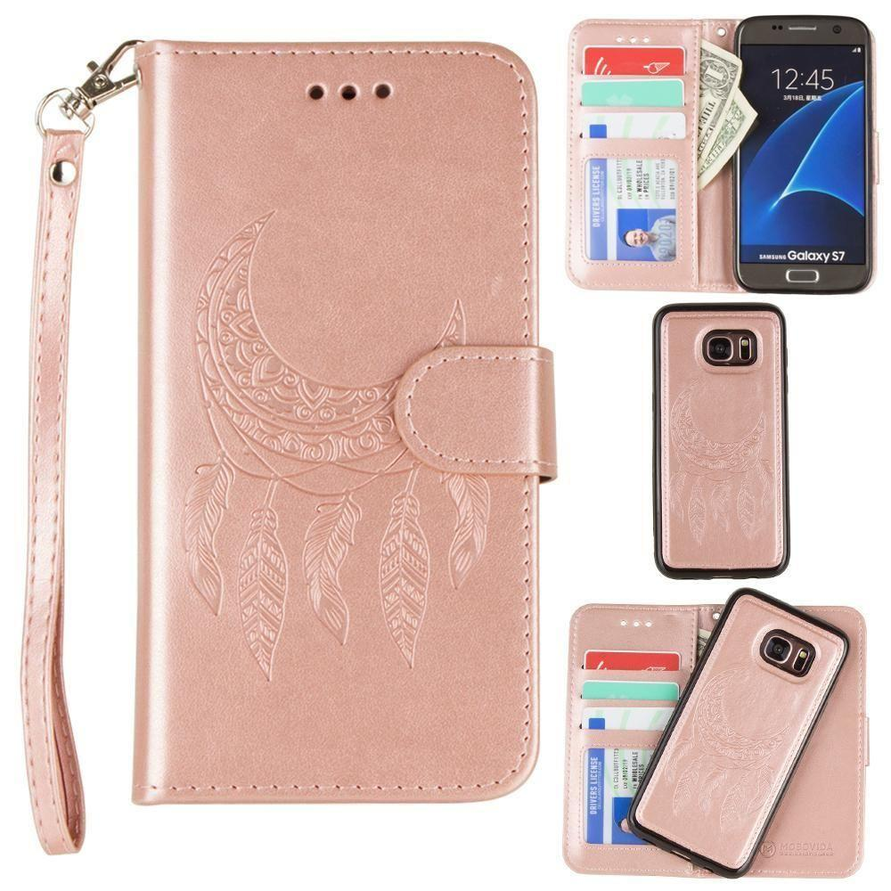 - Embossed Moon Dream Catcher Design Wallet Case with Detachable Matching Case and Wristlet, Rose Gold for Samsung Galaxy S7