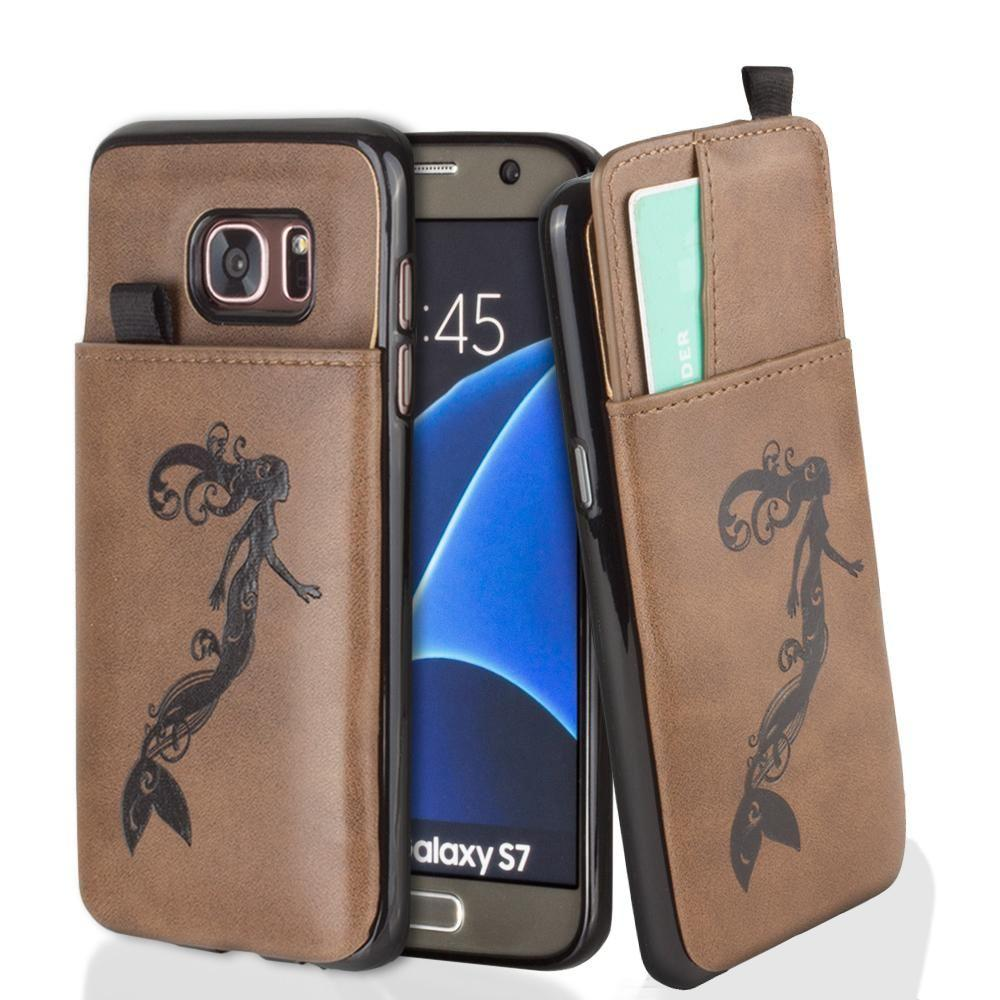 - Embossed Mermaid Leather Case with Pull-Out Card Slot Organizer, Brown for Samsung Galaxy S7