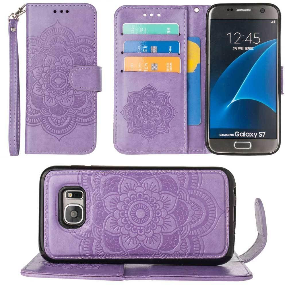 - Embossed Mandala Wallet Case with Detachable Matching Case and Wristlet, Lavender for Samsung Galaxy S7