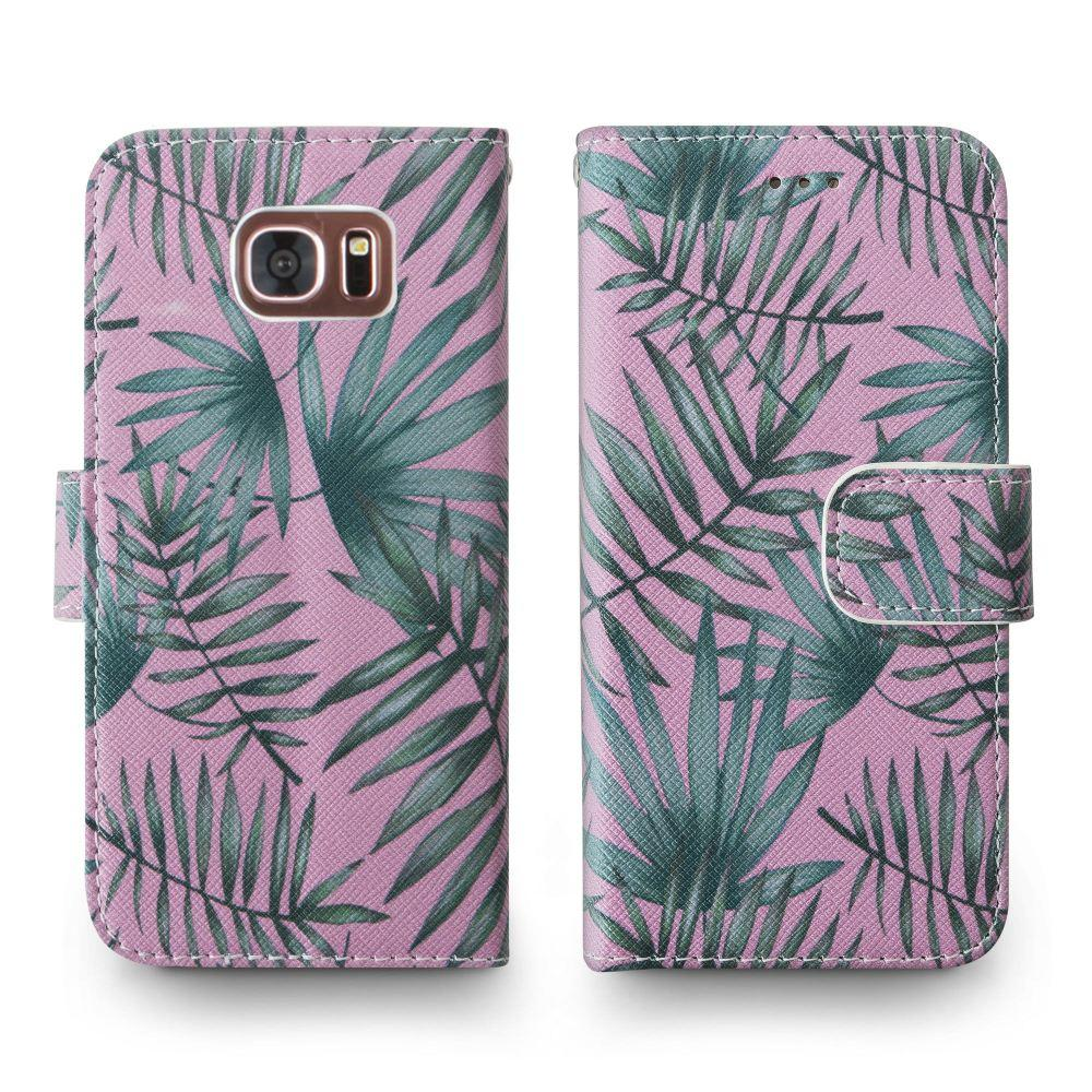 - Palm Leaves Printed Wallet with Matching Detachable Slim Case and Wristlet, Pink/Green for Samsung Galaxy S7