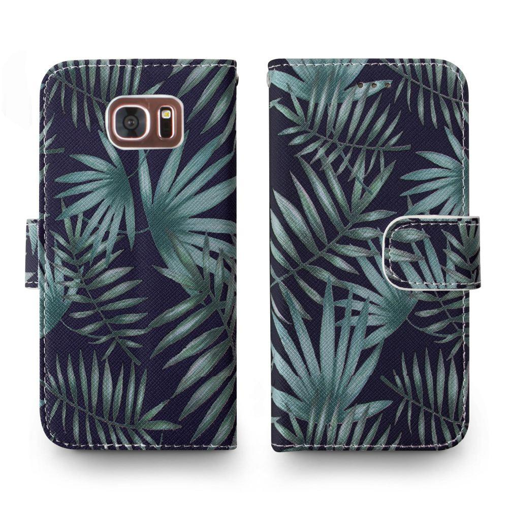 - Palm Leaves Printed Wallet with Matching Detachable Slim Case and Wristlet, Navy Blue/Green for Samsung Galaxy S7