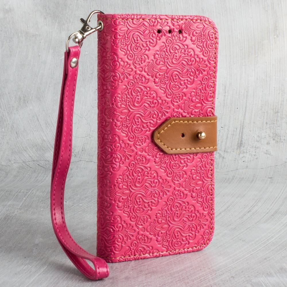 - Vintage Floral wallet with detachable matching slim case and wristlet, Hot Pink for Samsung Galaxy S7