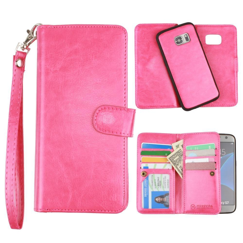 - Multi-Card Slot Wallet Case with Matching Detachable Case and Wristlet, Hot Pink for Samsung Galaxy S7