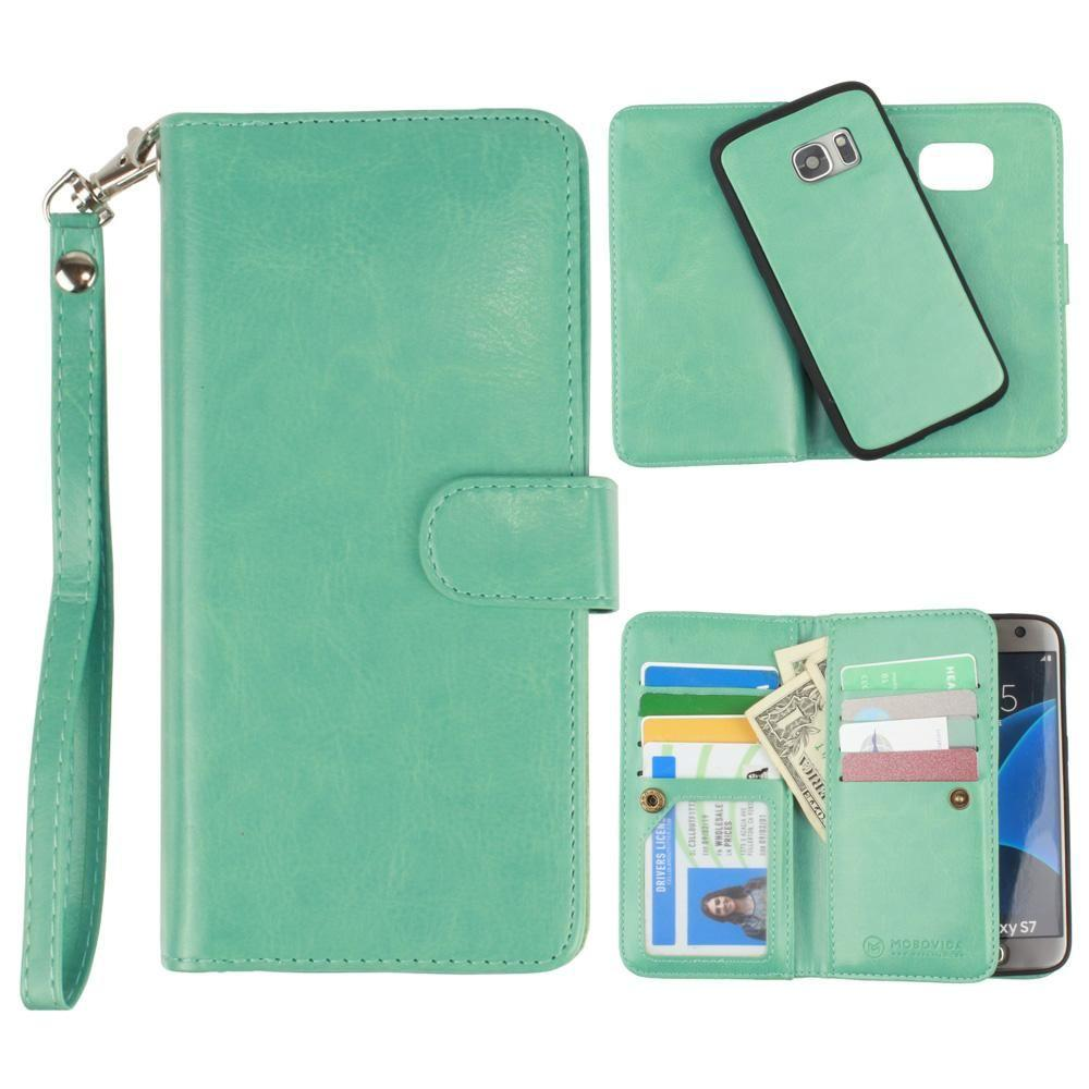 - Multi-Card Slot Wallet Case with Matching Detachable Case and Wristlet, Teal Blue for Samsung Galaxy S7