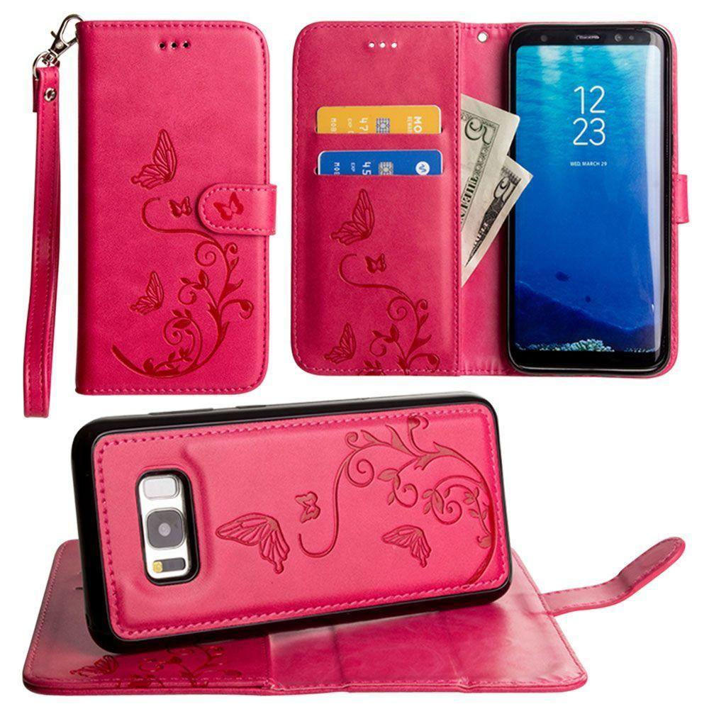 - Embossed Butterfly Design Wallet Case with Detachable Matching Case and Wristlet, Hot Pink for Samsung Galaxy S8