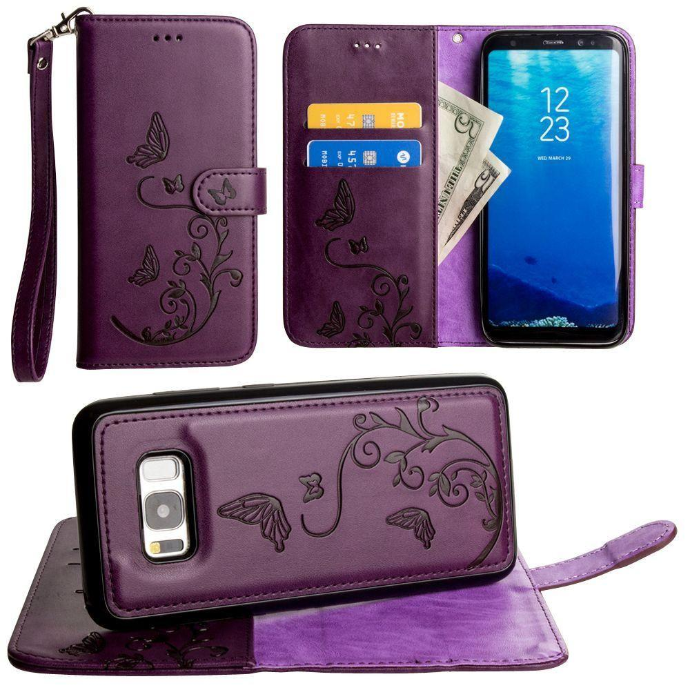 - Embossed Butterfly Design Wallet Case with Detachable Matching Case and Wristlet, Purple for Samsung Galaxy S8