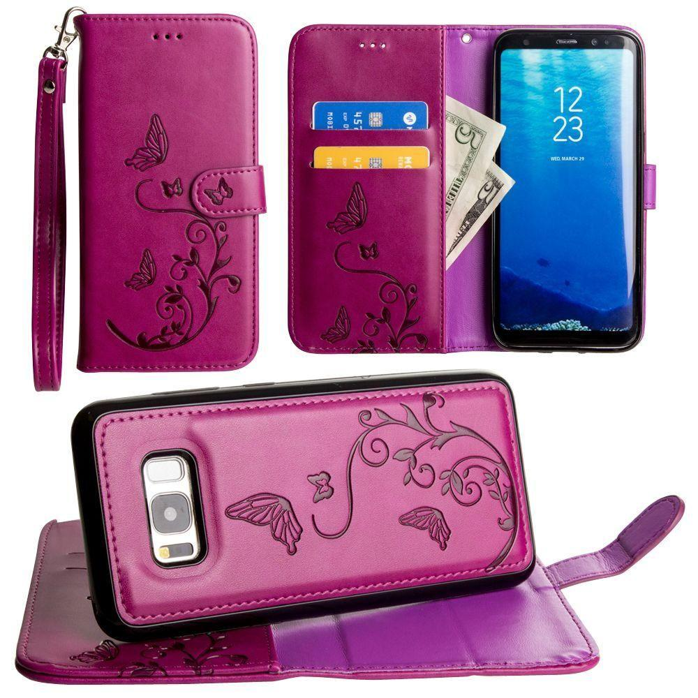 - Embossed Butterfly Design Wallet Case with Detachable Matching Case and Wristlet, Magenta for Samsung Galaxy S8