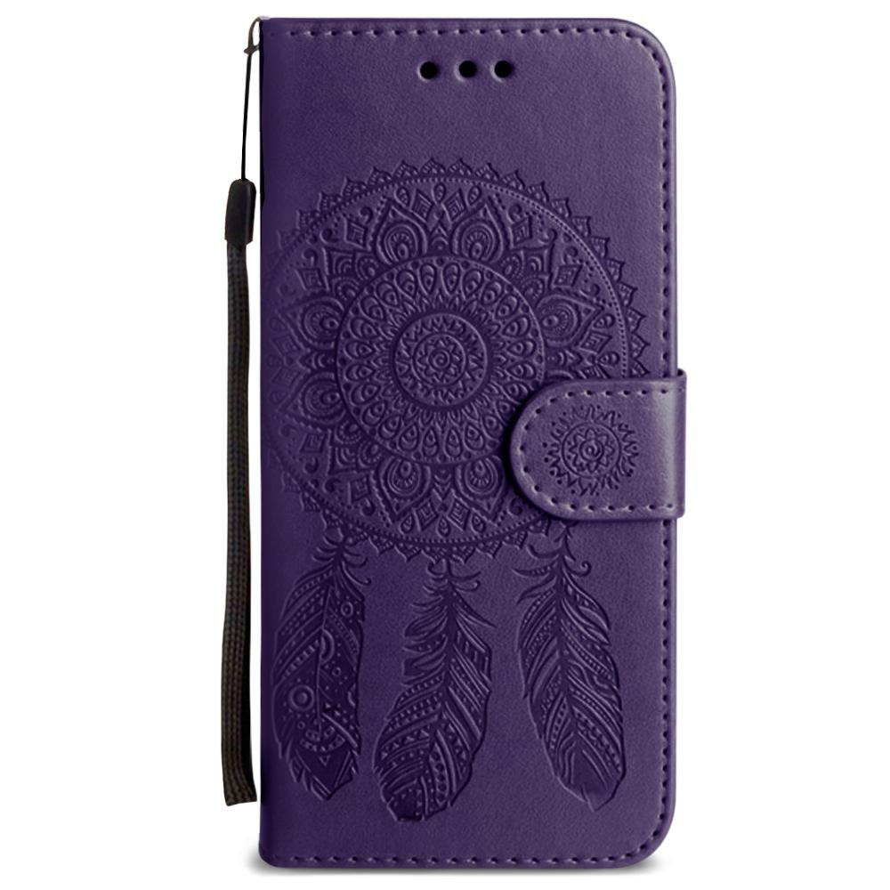 - Embossed Dream Catcher Design Wallet Case with Detachable Matching Case and Wristlet, Purple for Samsung Galaxy S8