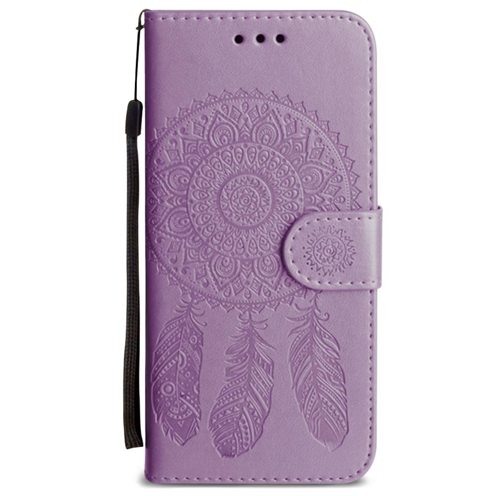 - Embossed Dream Catcher Design Wallet Case with Detachable Matching Case and Wristlet, Lavender for Samsung Galaxy S8