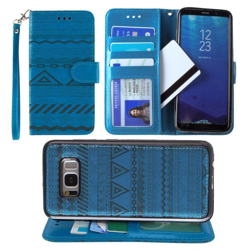 - Aztec tribal laser-cut wallet with detachable matching slim case and wristlet, Teal Blue for Samsung Galaxy S8