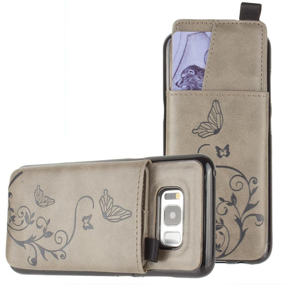- Embossed Butterfly Leather Case with Pull-Out Card Slot Organizer, Gray for Samsung Galaxy S8