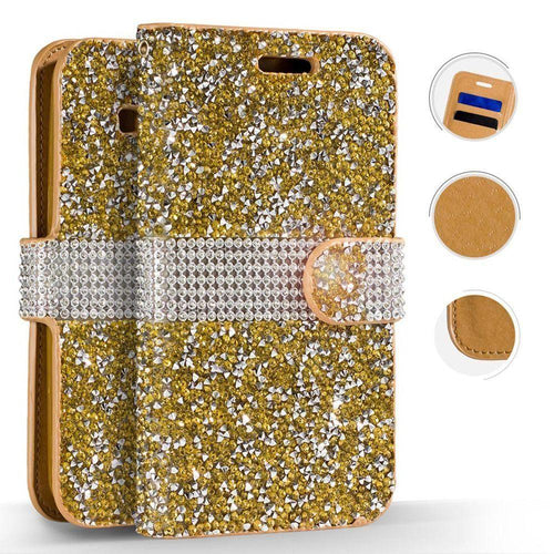 Lg K7 - Shimmering Rhinestone Phone Wallet Case, Gold for Samsung Galaxy S8