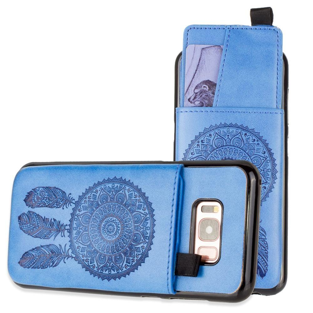 - Embossed Dreamcatcher Leather Case with Pull-Out Card Slot Organizer, Blue for Samsung Galaxy S8