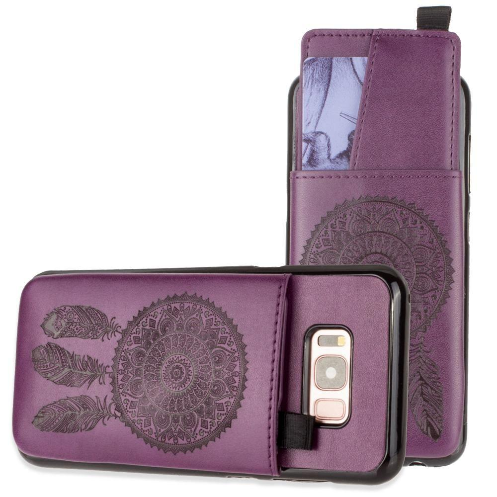- Embossed Dreamcatcher Leather Case with Pull-Out Card Slot Organizer, Purple for Samsung Galaxy S8