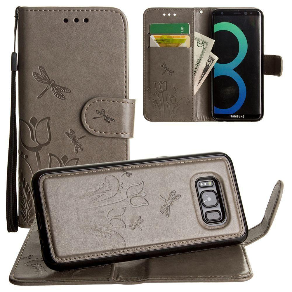 - Embossed dragonfly over tulip design wallet case with Matching detachable magnetic case and wristlet, Gray for Samsung Galaxy S8