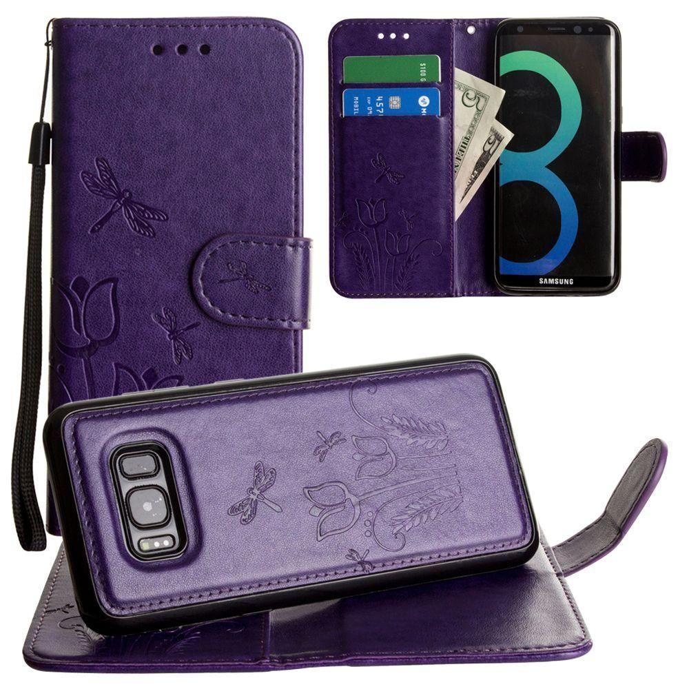 - Embossed dragonfly over tulip design wallet case with Matching detachable magnetic case and wristlet, Purple for Samsung Galaxy S8