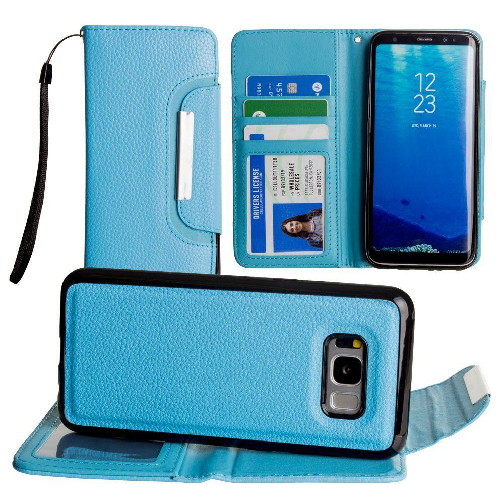 - Compact Wallet Case with Detachable Slim Case Card Slots and wristlet, Blue for Samsung Galaxy S8