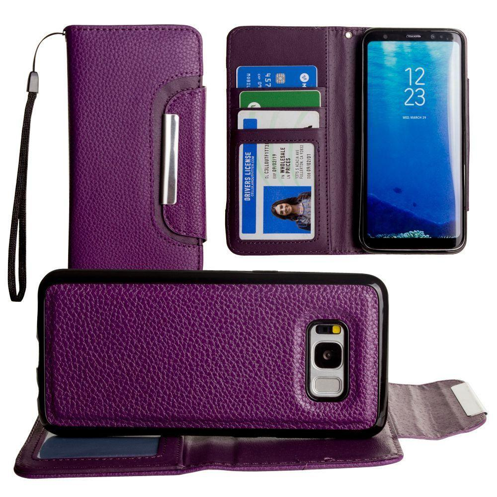 - Compact Wallet Case with Detachable Slim Case Card Slots and wristlet, Purple for Samsung Galaxy S8